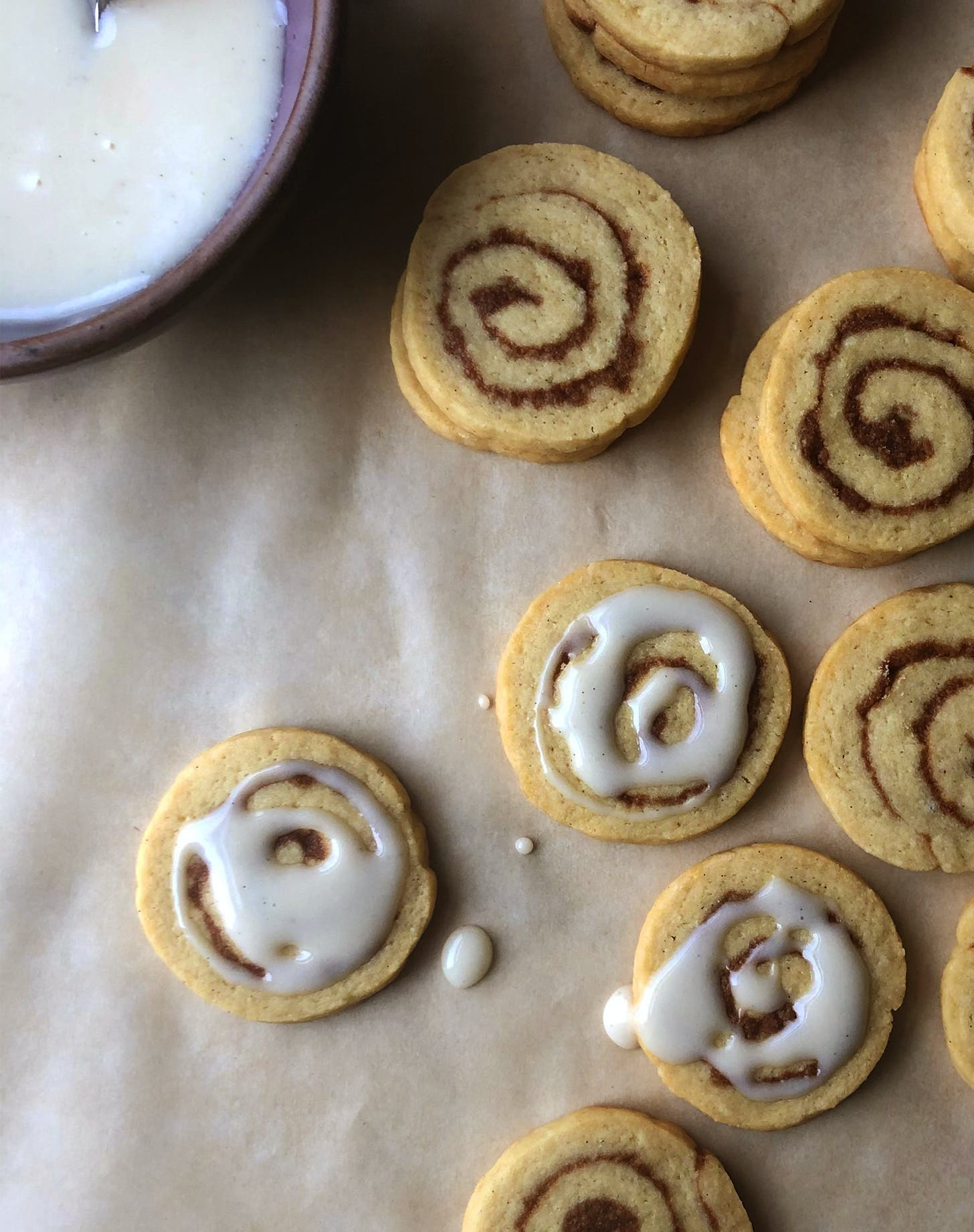 Cinnamon-Roll Cookies with Cream Cheese Glaze