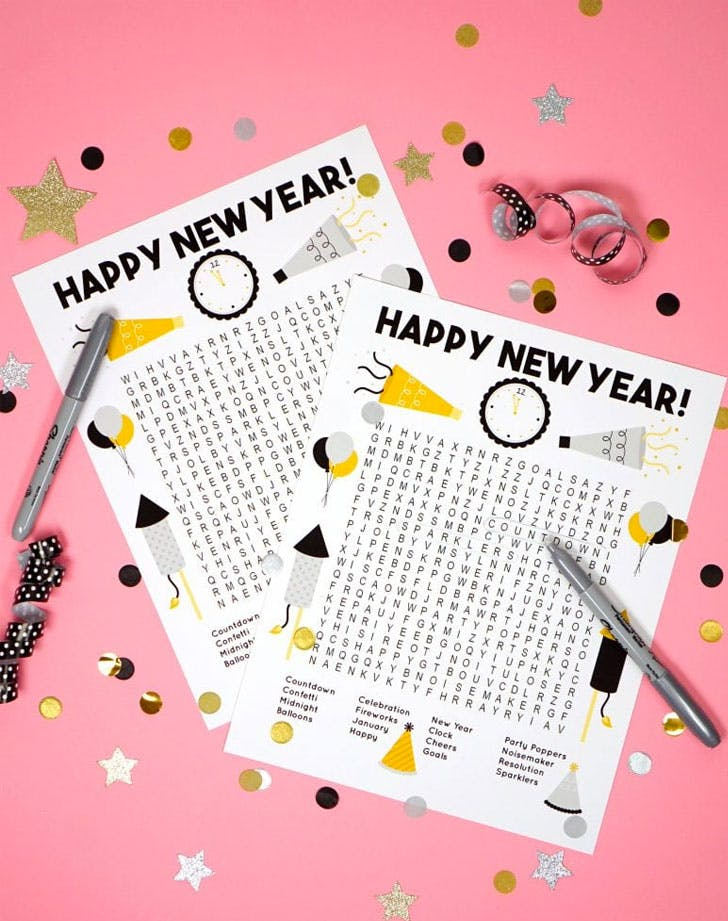 news years eve games word search