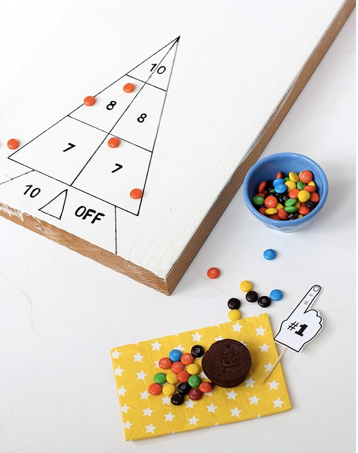 1. DIY Shuffleboard Game super bowl party games