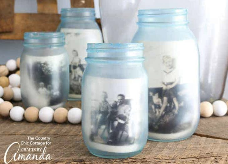1. Mason Jar Photo Frame crafts for adults