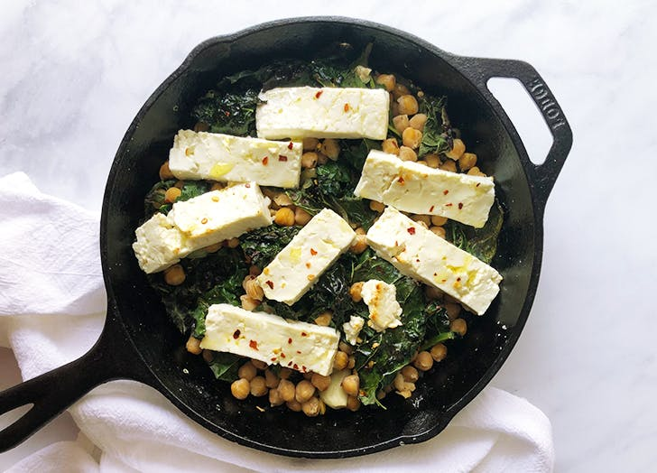 baked feta with garlicky kale and chickpeas recipe CAT
