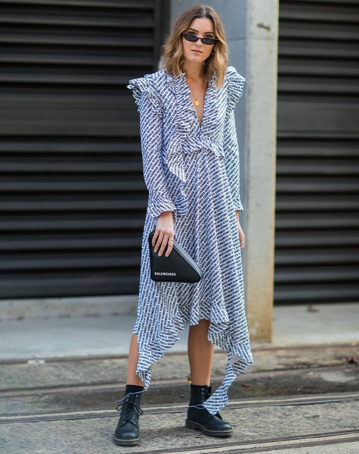 best combat boots with a ruffled dress