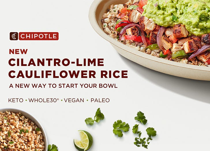 Just Started Keto? Chipotle Now Has New Cilantro-Lime Cauliflower Rice on the Menu