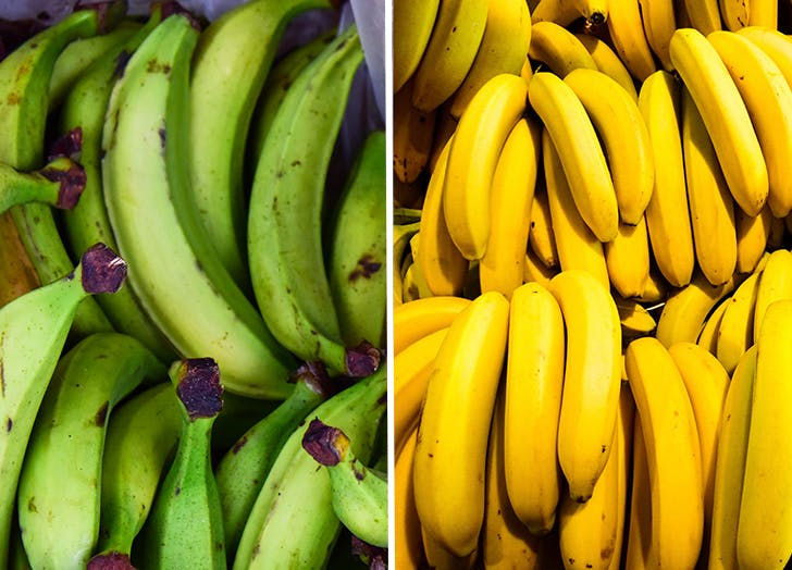plantains vs bananas  side by side