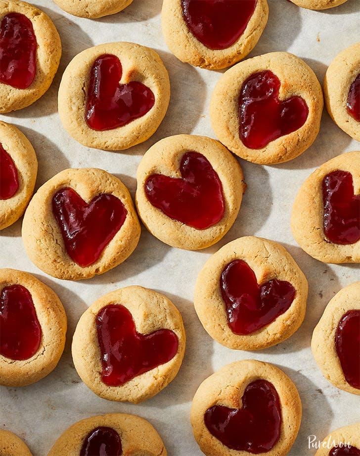 valentines day cookies heart thumbprint cookies recipe