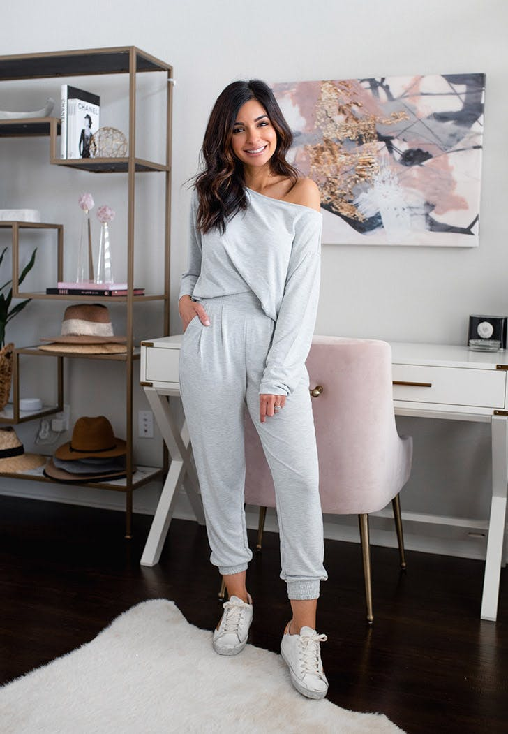 express grey jumpsuit sueded jersey