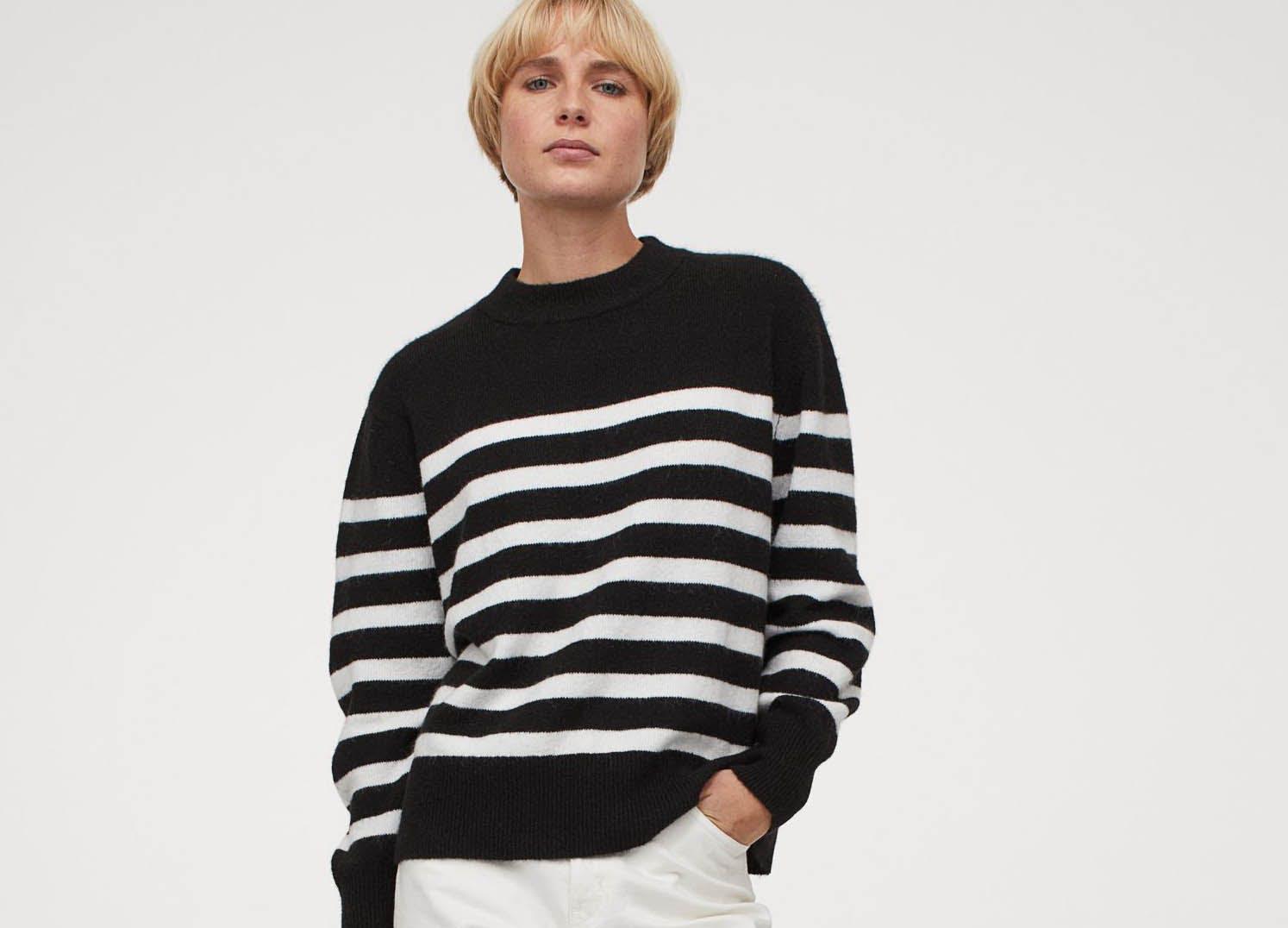 hm winter sweaters under 30 stripe
