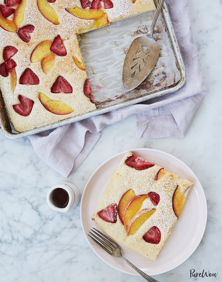 mother s day brunch ideas Baked Pancakes With Peaches And Strawberries Recipe