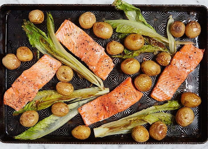 one pan roasted salmon with potatoes and romaine recipe CAT