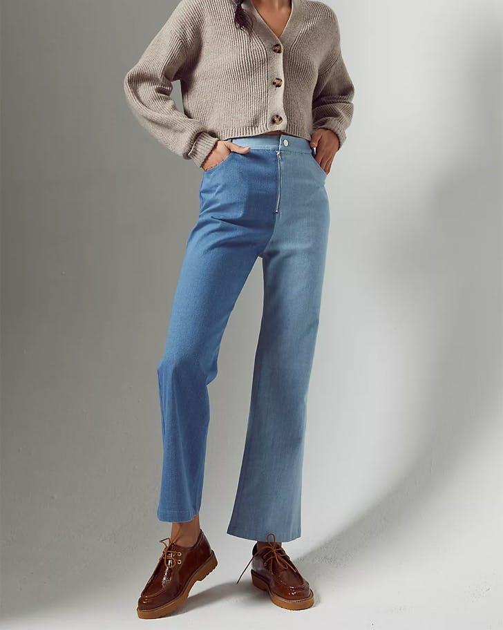 anthropologie en saison two tone jeans colorblock denim