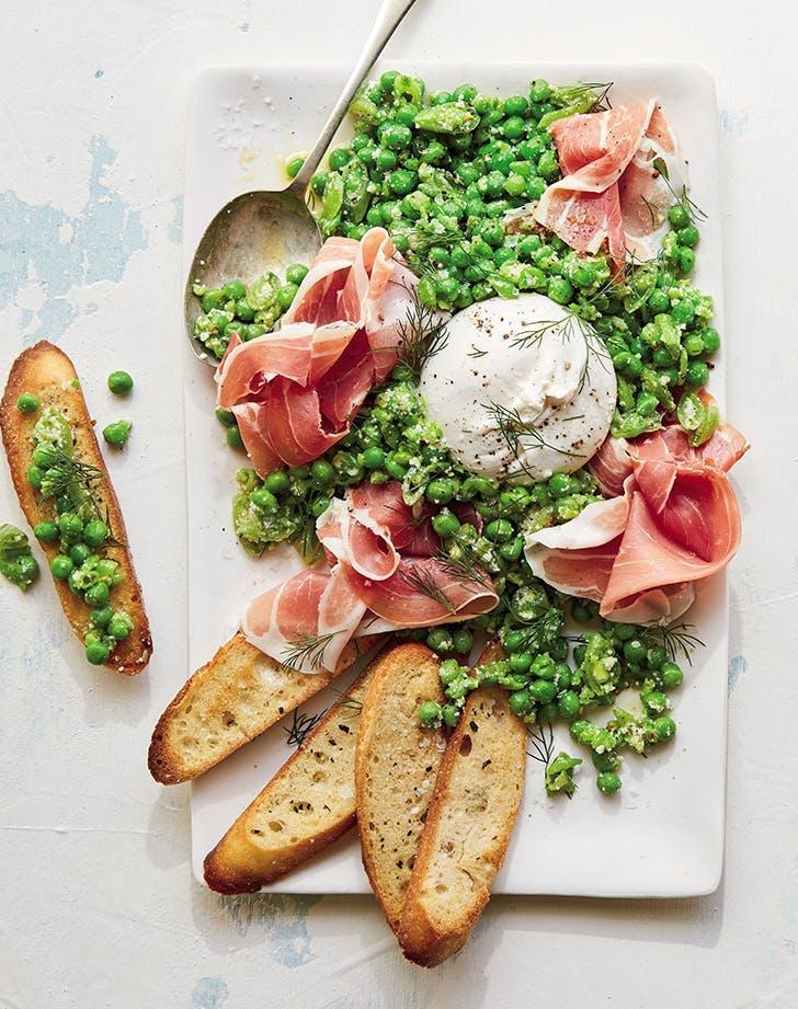 april dinners double pea prosciutto and burrata platter recipe