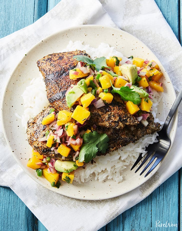 fathers day dinner ideas grilled jerk chicken cutlets with mango salsa recipe