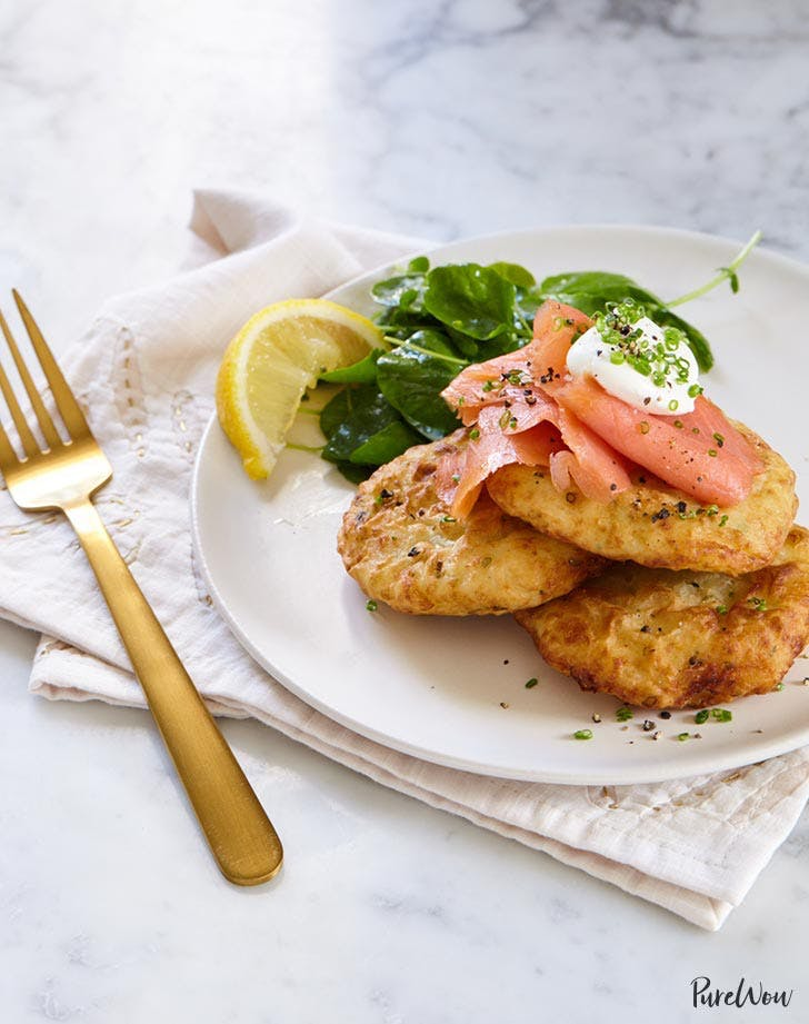 leftover mashed potato recipes potato fritters with smoked salmon and creme fraiche recipe1
