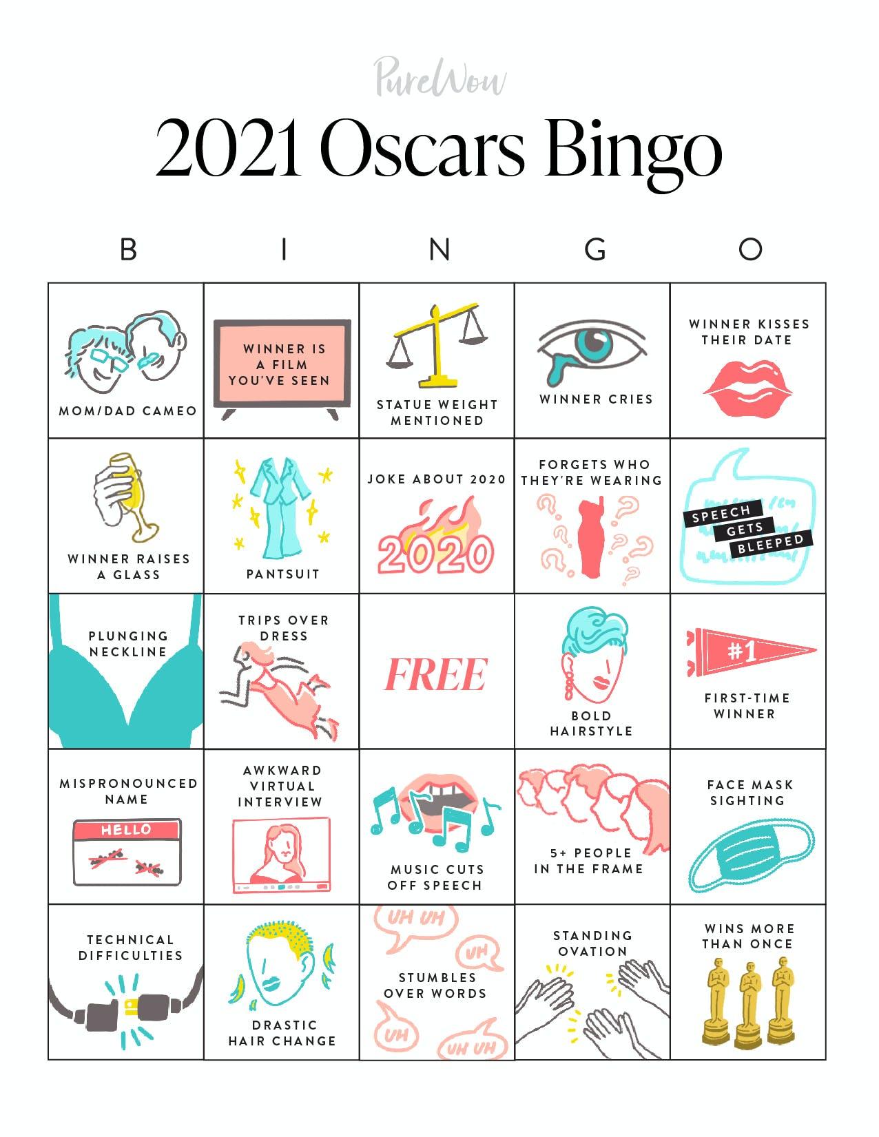 2021 Oscars Bingo 1