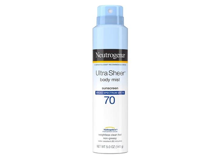 best spray sunscreen Neutrogena Ultra Sheer Body Mist Sunscreen SPF 70