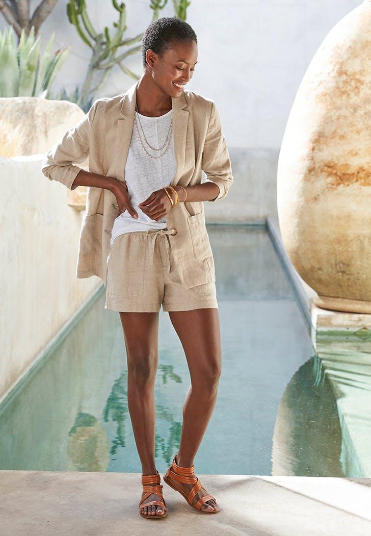linen dressing blazer shorts