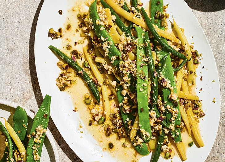molly baz cook this book green beans with garlicky pistachio vinaigrette recipe CAT
