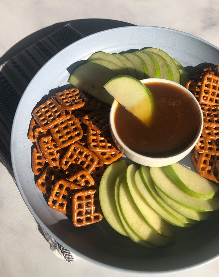 Vegan Miso Caramel Dip with Pretzels and Granny Smith Apples