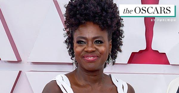 Viola Davis's Oscars Red Carpet Look Includes Chiffon, Cutouts and a Fauxhawk