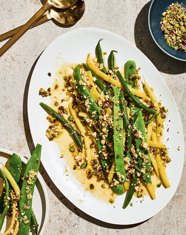 4th of july side dishes molly baz cook this book green beans with garlicky pistachio vinaigrette recipe