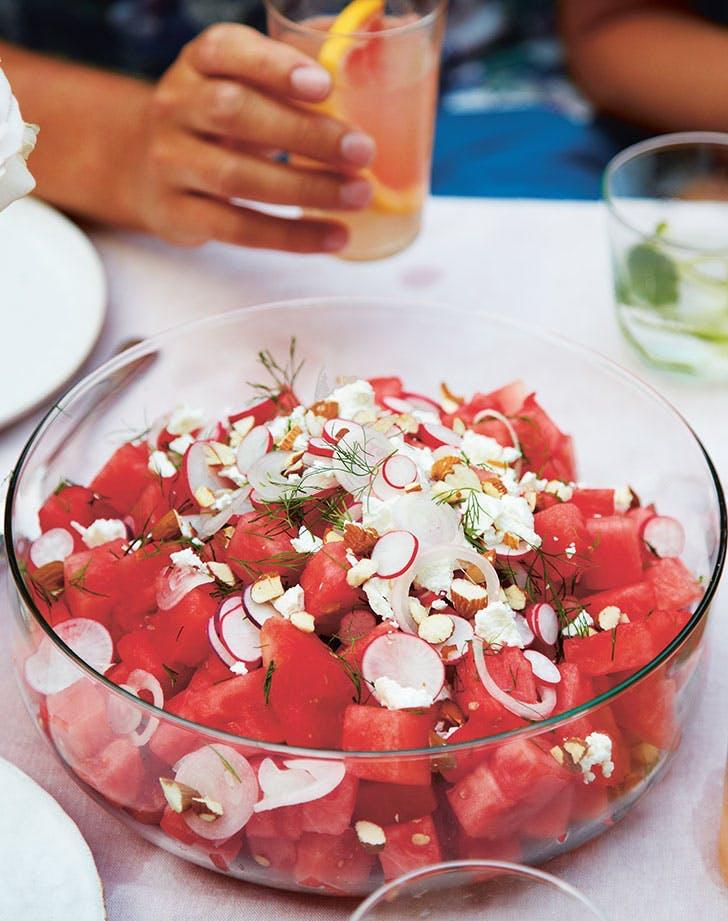 fruit salad recipes watermelon feta salad almonds dill recipe