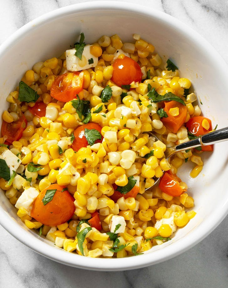 what goes with scallops corn and tomato salad recipe