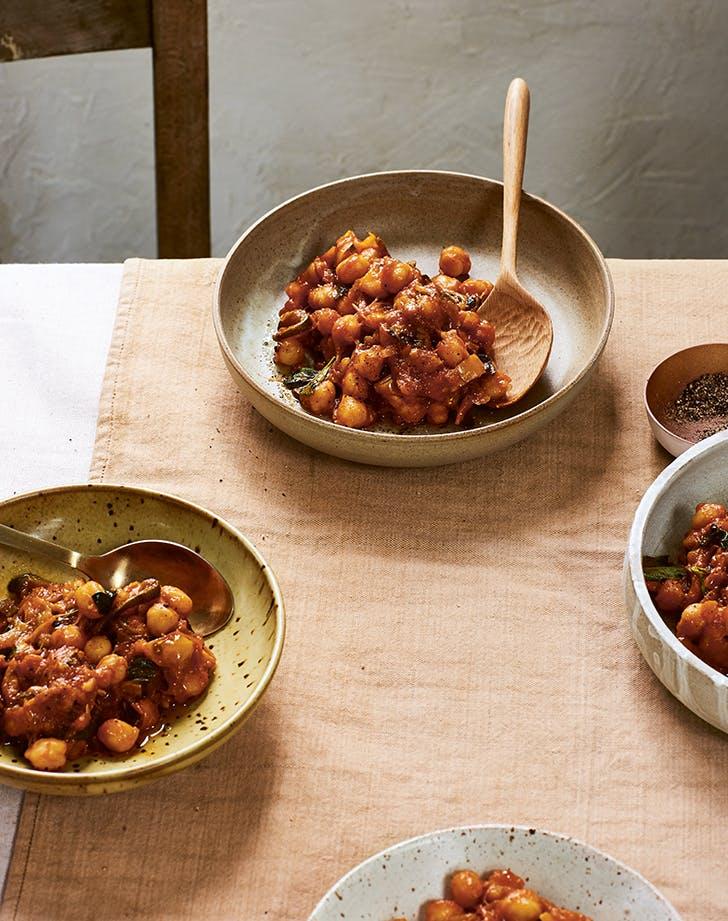 Chickpeas with Braised Summer Vegetables and Basil