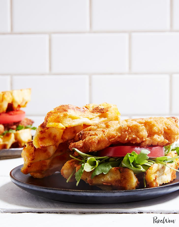 Chicken and Cheddar-Waffle Sandwiches