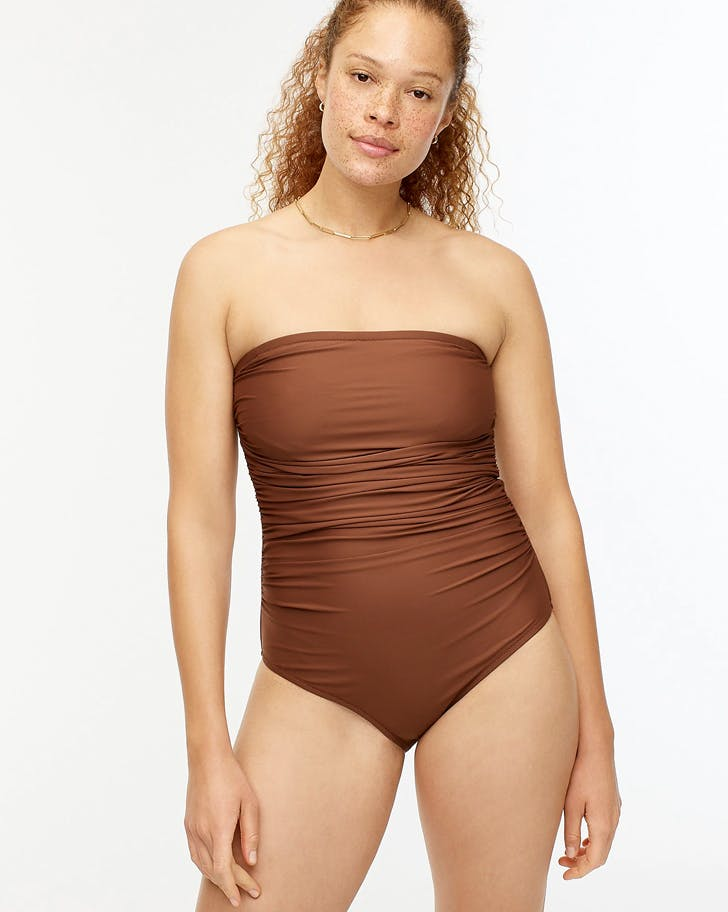 ruched strapless one piece best jcrew bathing suits