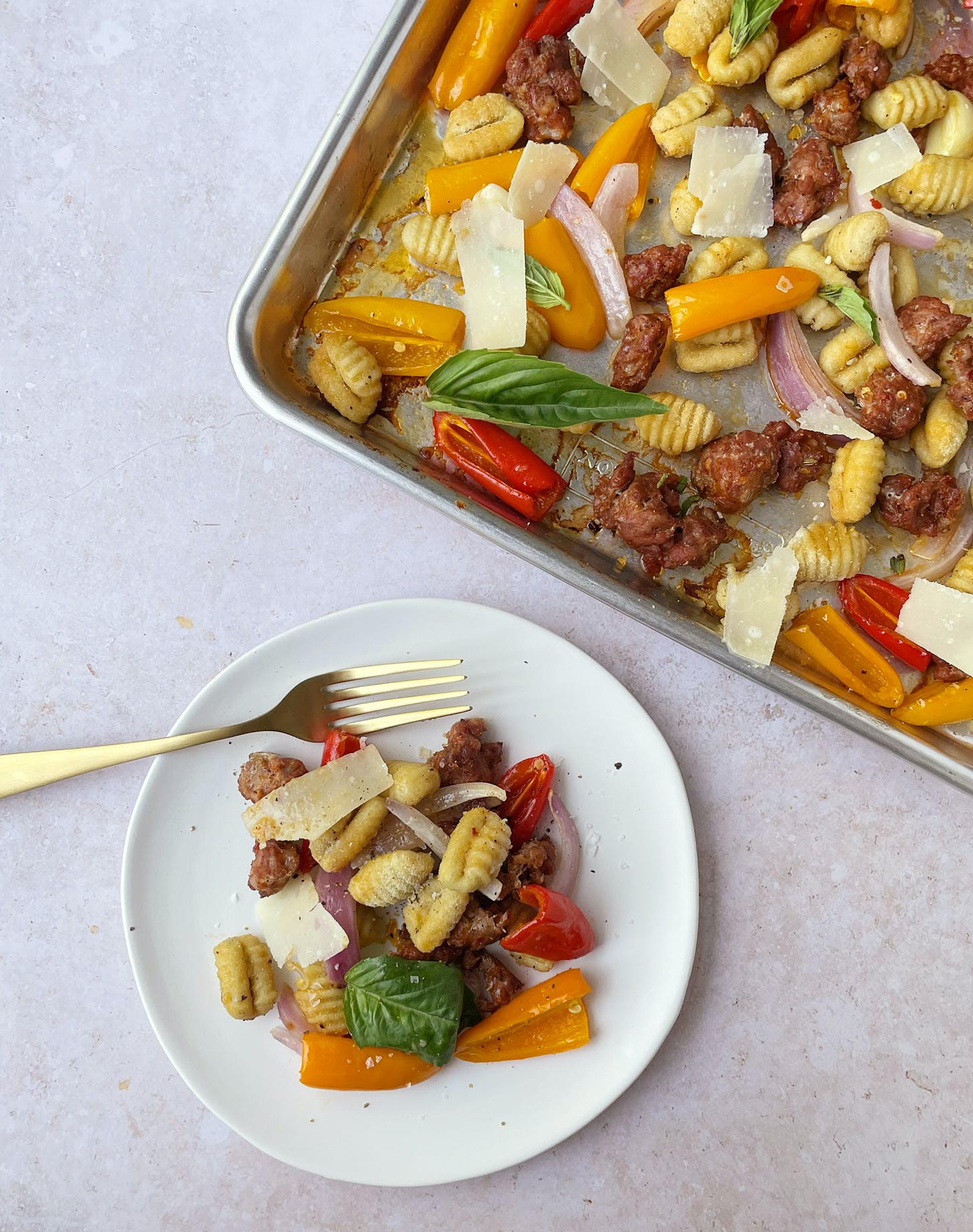 Sheet-Pan Gnocchi with Sausage, Peppers and Onions