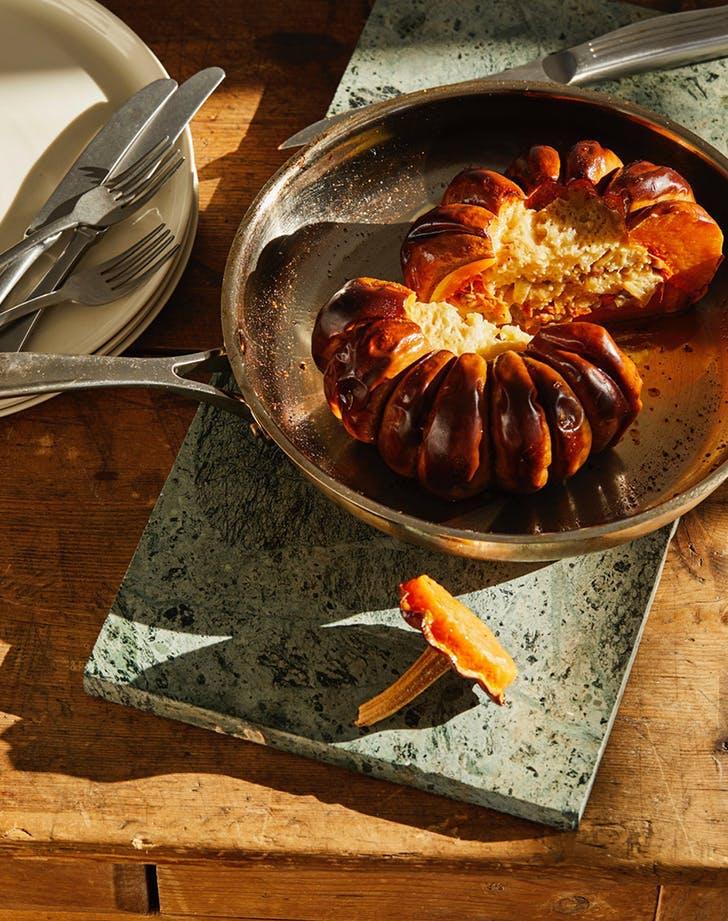 best pumpkin recipes whole roasted pumpkin stuffed with wild mushrooms and gruyere recipe