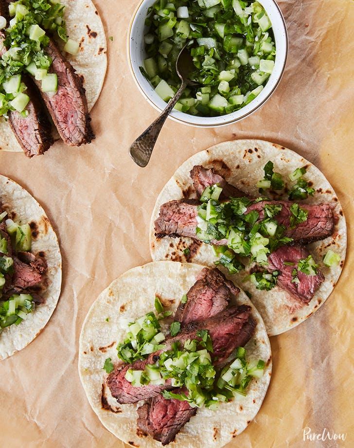 Flank Steak Tacos with Cucumber Salsa