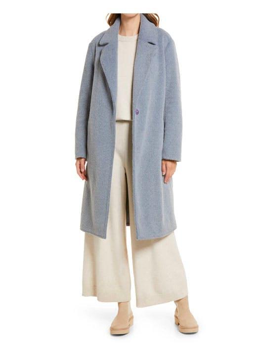 notch collar textured coat