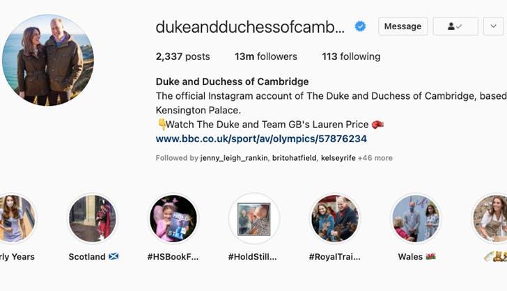 prince william kate middleton instagram followers