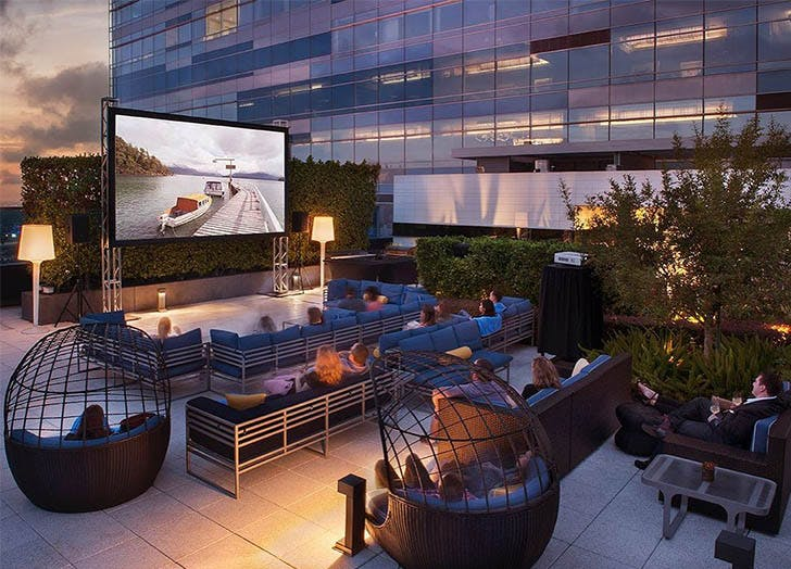 Date Ideas in Los Angeles Dinner and a Movie Poolside at Hotel