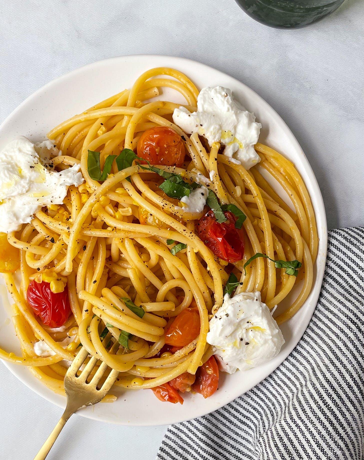 fresh tomato recipes Pasta with Burst Cherry Tomatoes Fresh Corn and Burrata recipe v4