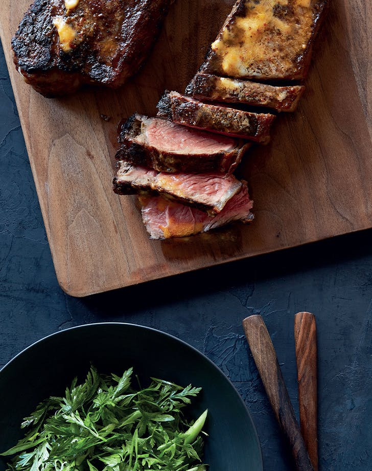 Antoni Porowski's Strip Steak with Harissa Butter and Parsley Salad