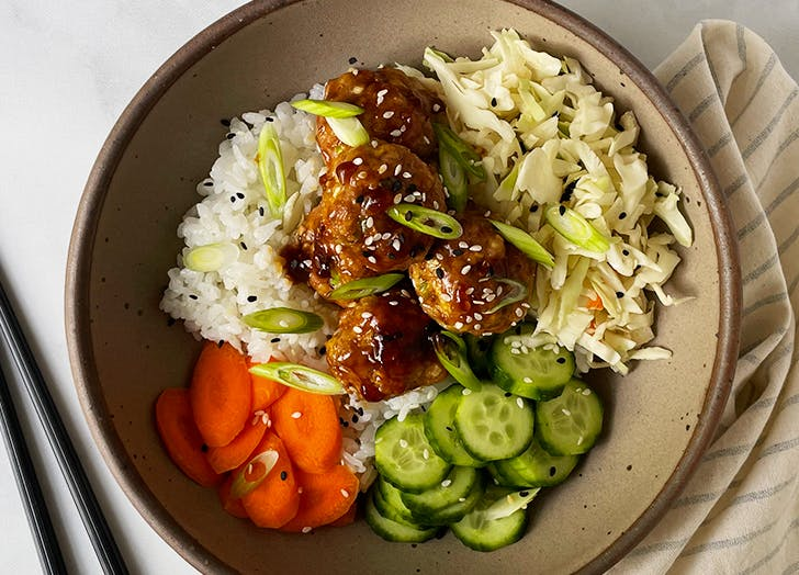 ginger scallion chicken meatballs with sesame soy glaze recipe CAT