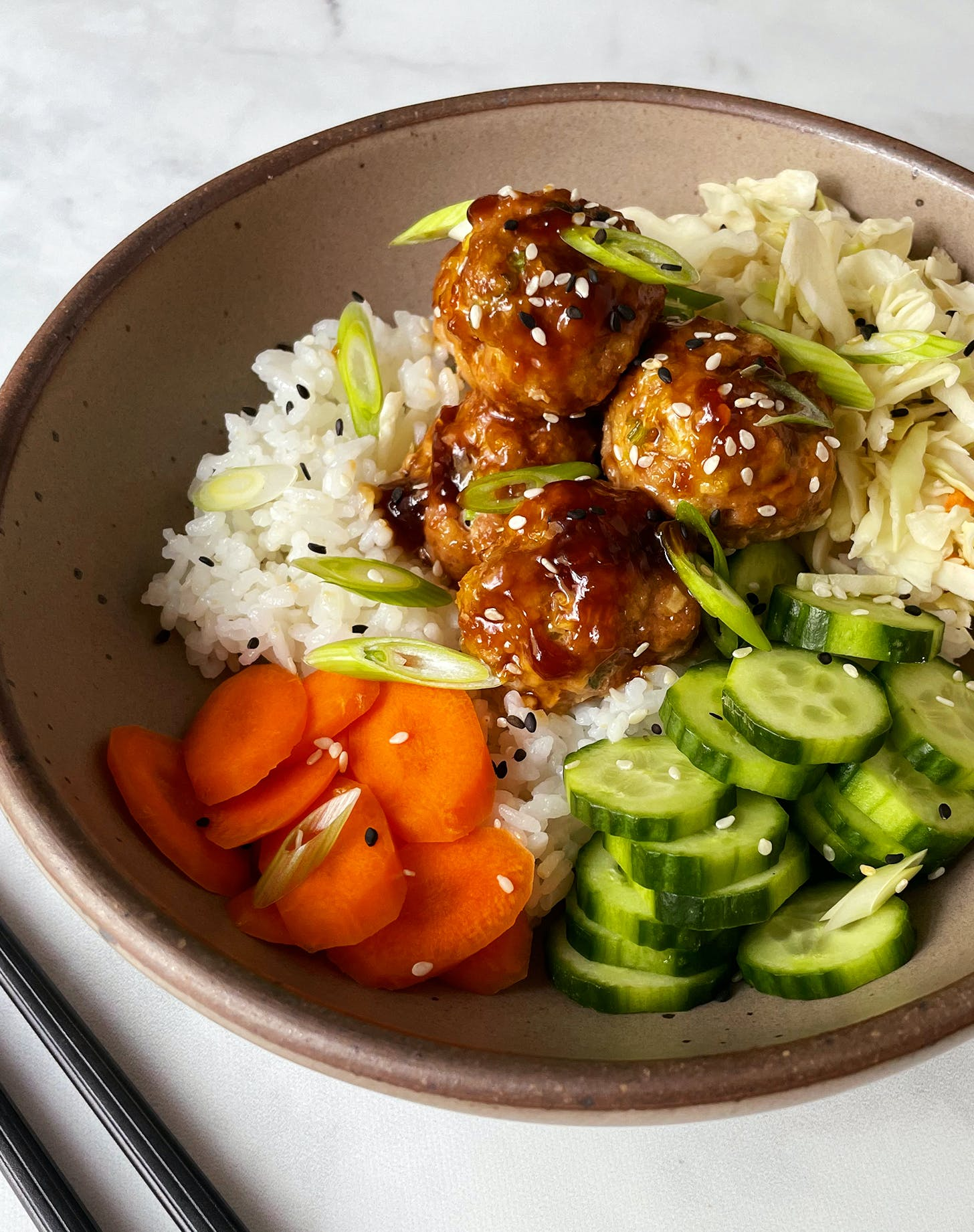 Ginger-Scallion Chicken Meatballs with a Sesame-Soy Glaze