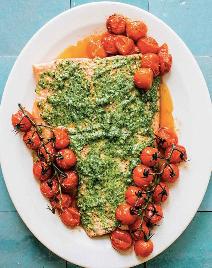 salmon with pesto and blistered tomatoes recipe