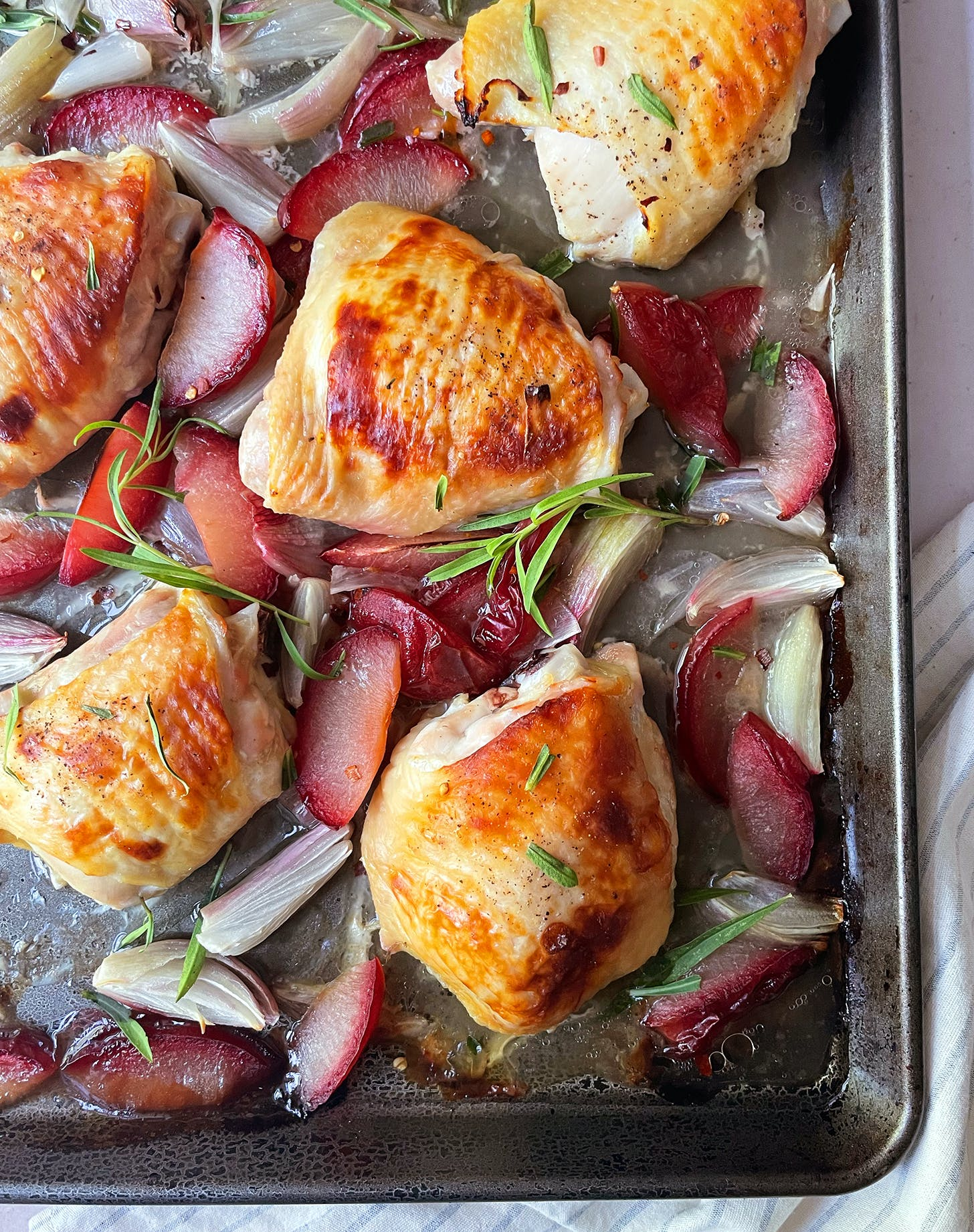 Sheet-Pan Buttermilk Chicken Thighs with Plums, Shallots and Honey