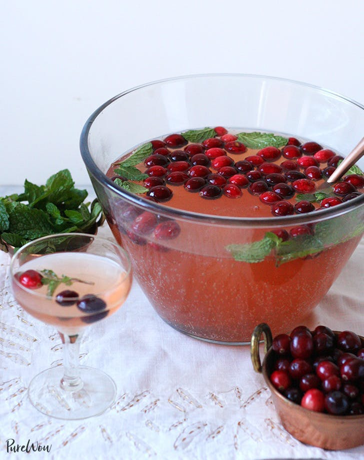 wine cocktails cranberry mint holiday punch recipe