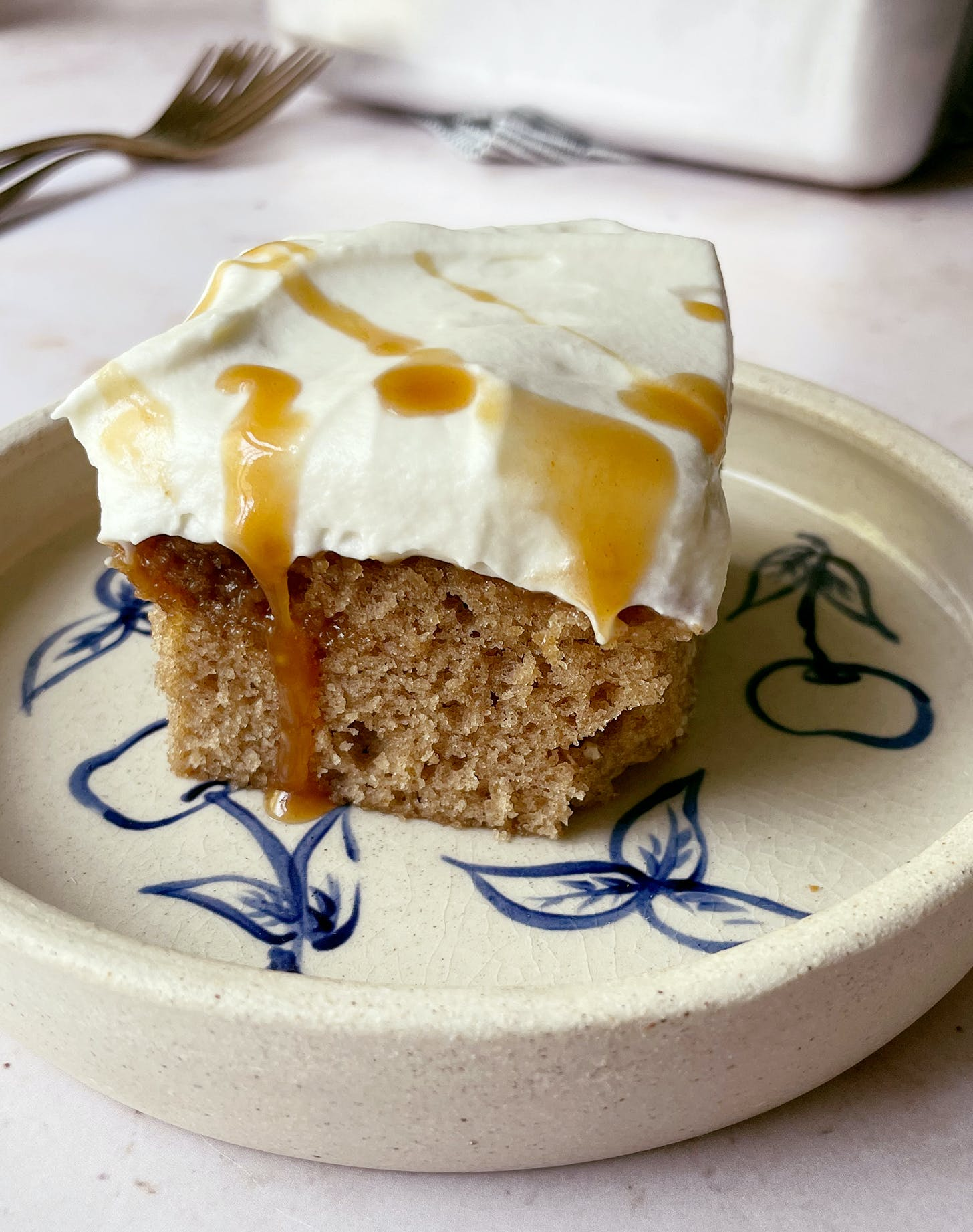 Apple Cider Caramel Poke Cake with Cream Cheese Whipped Cream