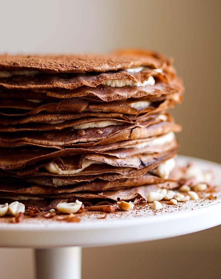 Chocolate and Salted Peanut Crepe Cake